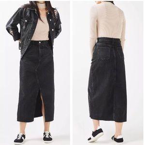 Topshop moto High Waist denim long skirt 0